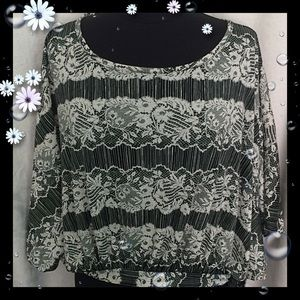 Black White Lace Look Blouse by Wet Seal Large